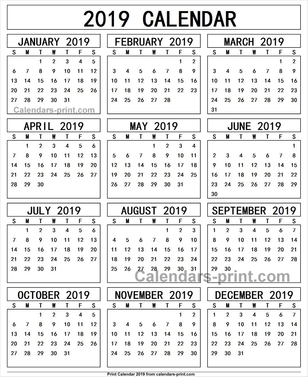 Calendar To Print 2019 Calendar 2019 Free Print | 2019 Yearly Calendar in 2019 | Free