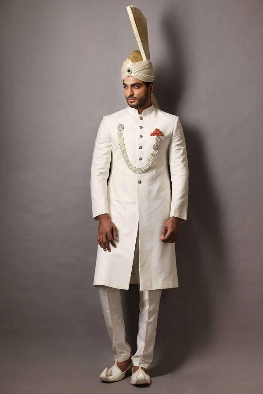 New Style Of White Pakistani Mens Wedding Sherwani Barat Dresses 2017 With Turban Or Pagri
