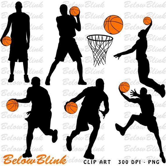 Basketball Players Silhouettes Clipart Clip Art Digital Etsy Basketball Clipart Basketball Players Craft Paper Invitation