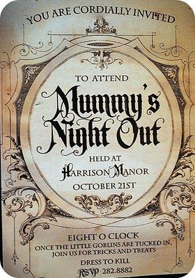 Cute invitation for an all ladies halloween get-together