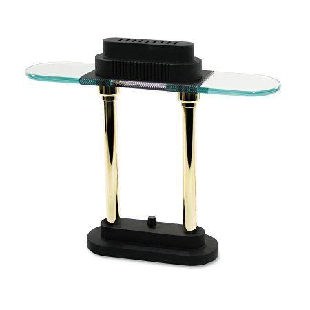 Ledu Halogen Desk Lamp, Glass Shade, 15 inch High, Black Base, Multicolor