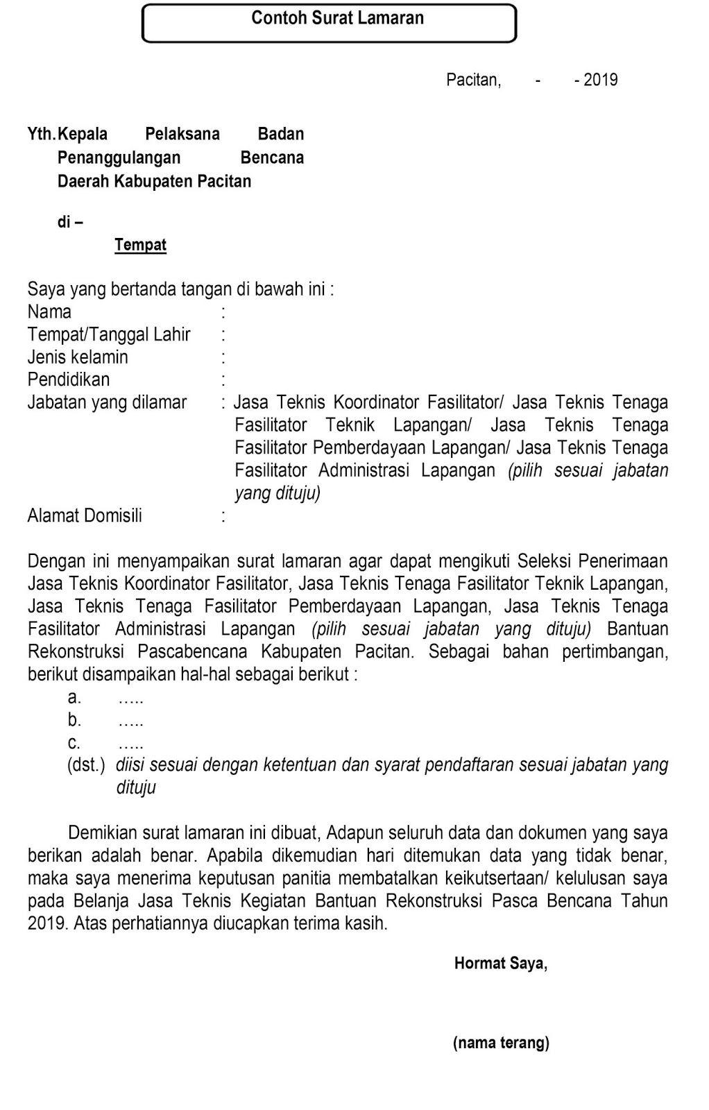 Lowongan Kerja Bpbd Kabupaten Pacitan Surat Tanggal