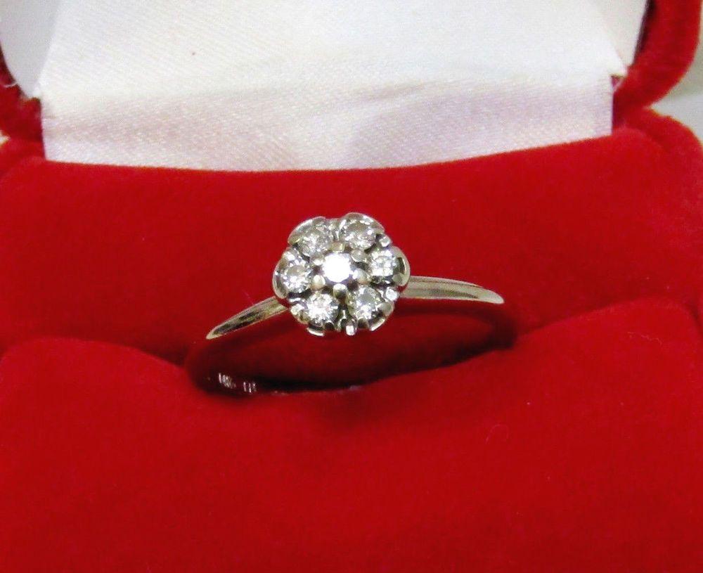 Vintage Pre Owned Diamond Flower Cer Engagement Ring 14k White Gold Sz 7 5