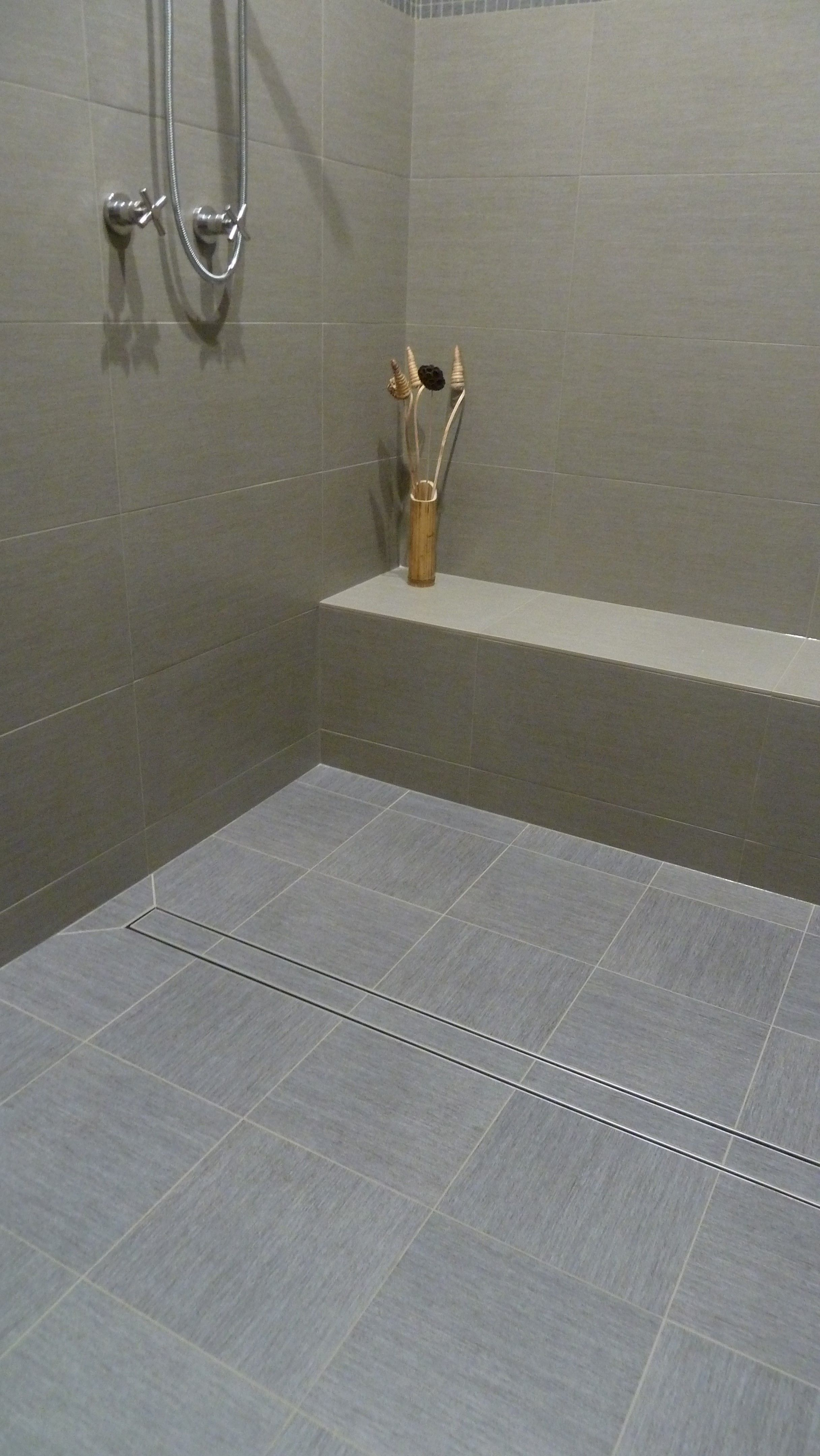 featuring luxe tile insert linear drain
