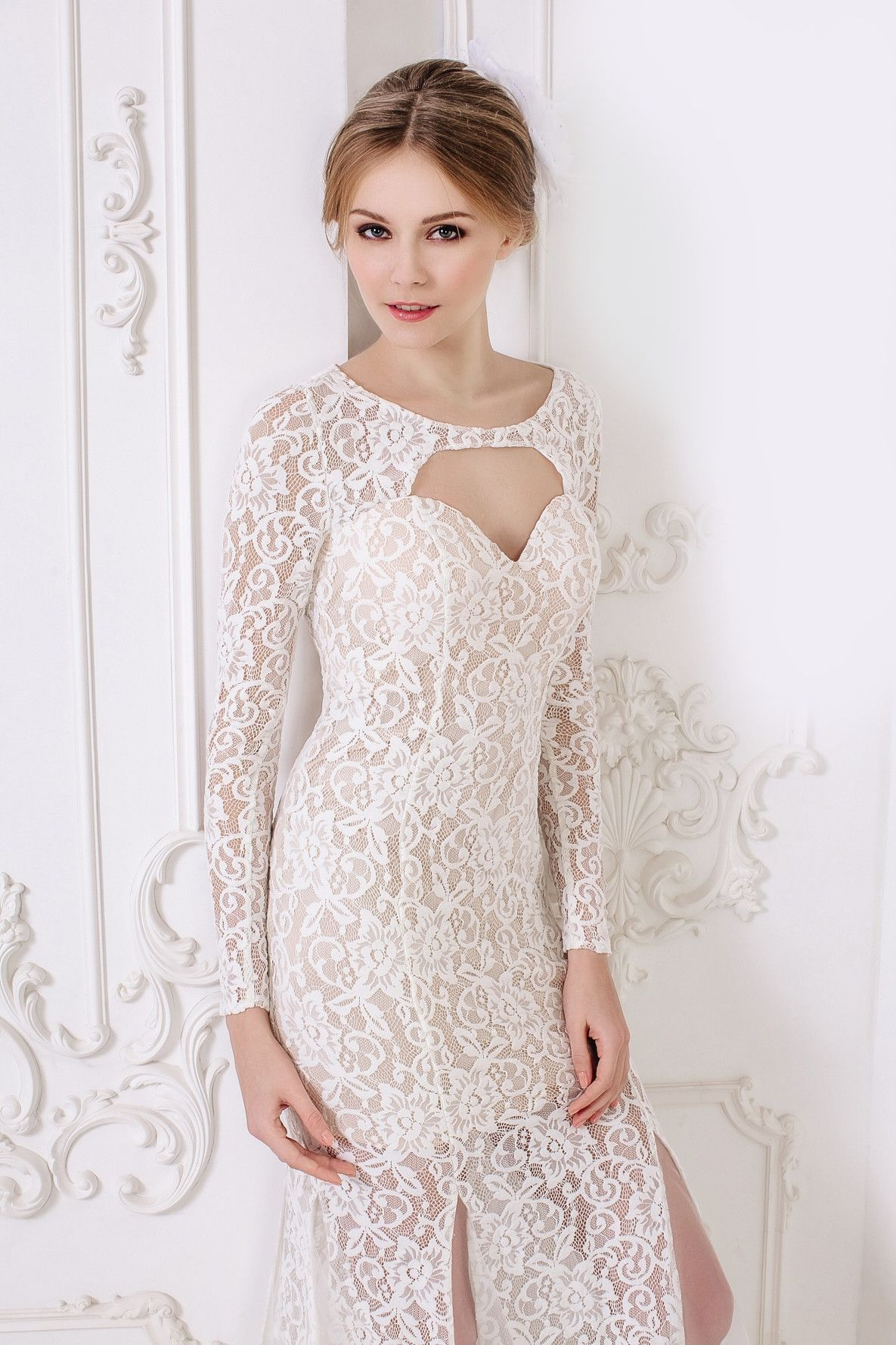 Kleo long lace wedding dress simple long dress lace wedding
