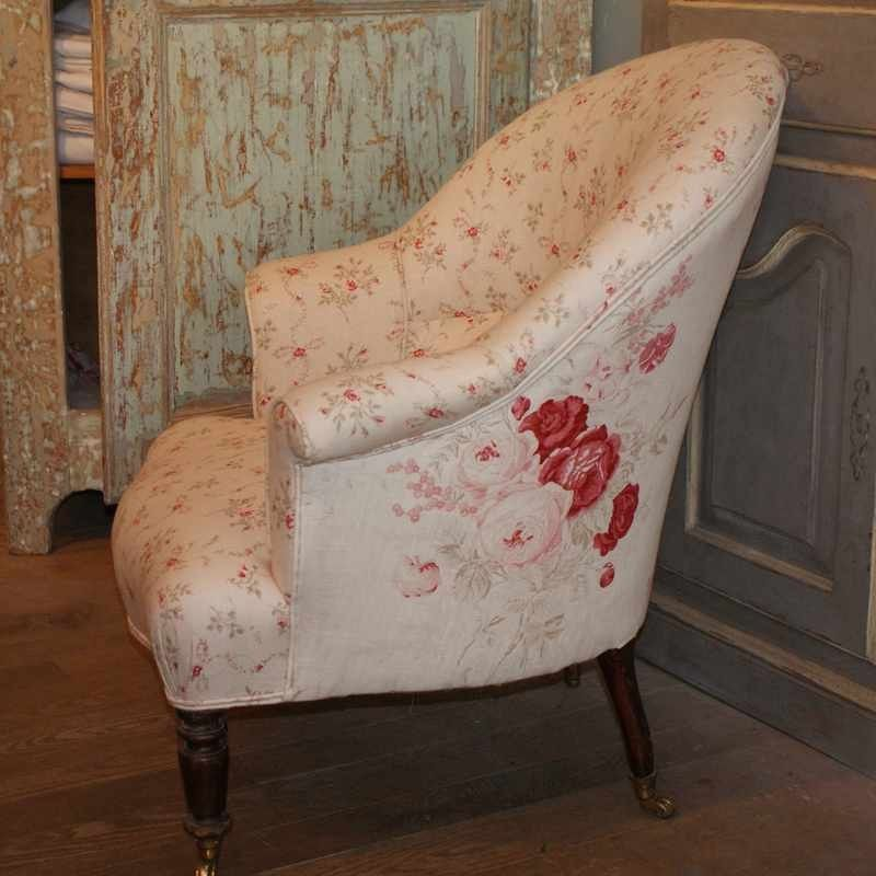 Victorian Tub Chair re-upholstered using complimentary Kate Forman ...