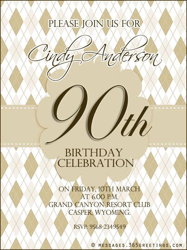 90th Birthday Invitation Wording 365greetings Com 90th Birthday Invitations 21st Birthday Invitations 90th Birthday Parties