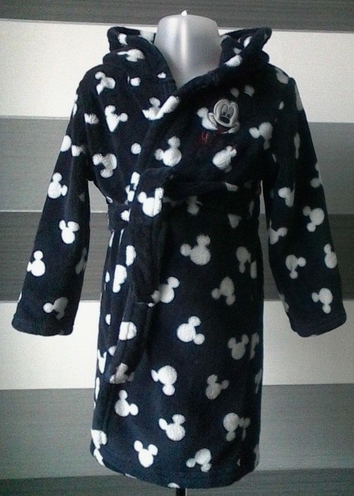 Baby Boys Mickey Mouse Dressing Gown Navy White 18-24 months ...
