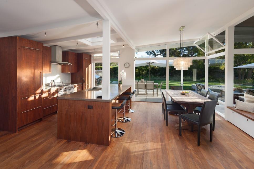 Sleek And Warm This Midcentury Modern Eat In Kitchen Exemplifies