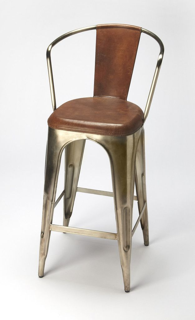 Butler Furniture Industrial Chic Roland Iron U0026 Leather Barstool