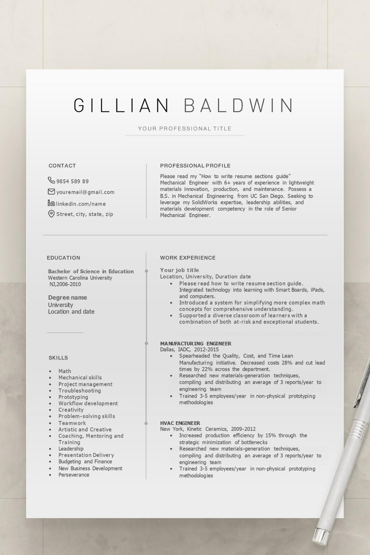 Resume Template Professional Resume Resume Templates Creative Resume Modern Resume Minimal Resume Resume Template Professional Resume Templates
