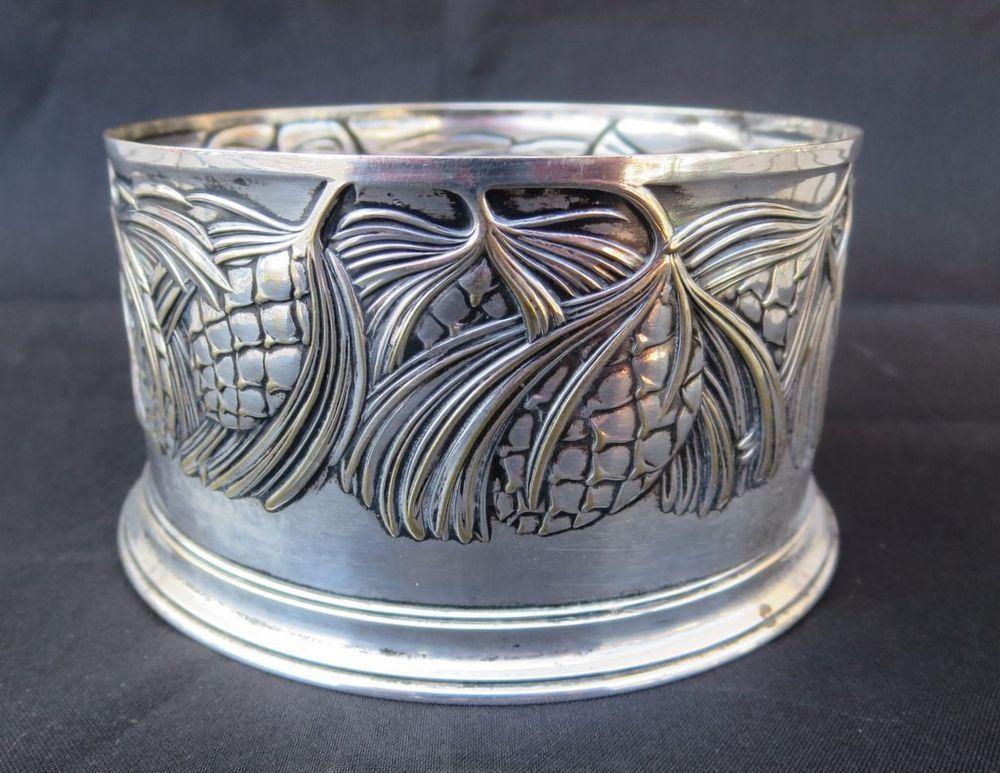 Antique Art Nouveau Silver Bottle Coaster Hunt Pine Cones Branches AG ORIVIT