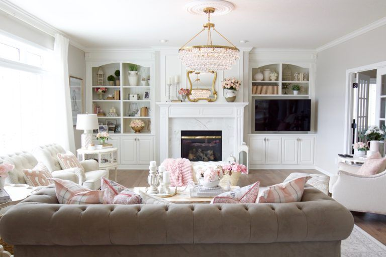 Spring Family Room Refresh With Blush Pink Styled With Lace Family Room Blush Pink Living Room Pink Living Room