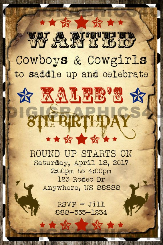 Country and Western Cowboy Wanted Poster Birthday Party Invitation ...