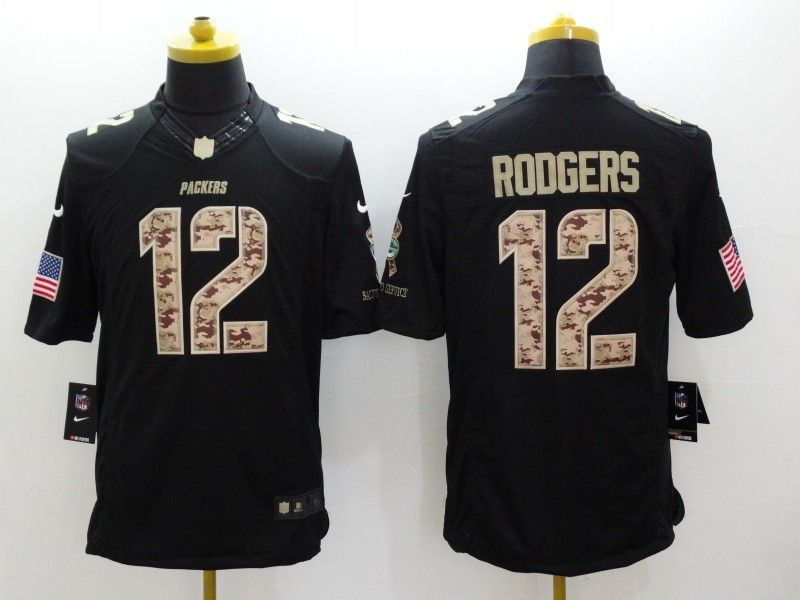 cheap wholesale mens green bay packers 12 aaron rodgers nike black salute to service jersey