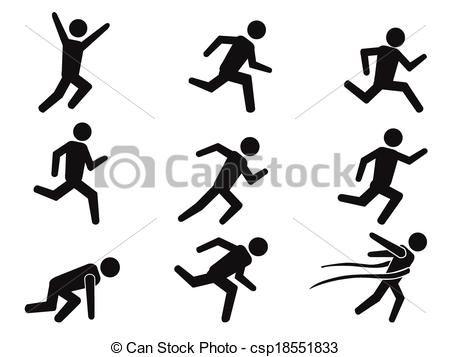 Vectors Of Runner Stick Figure Icons Set Isolated Black Runner Stick Figures Icon Set Clip Art