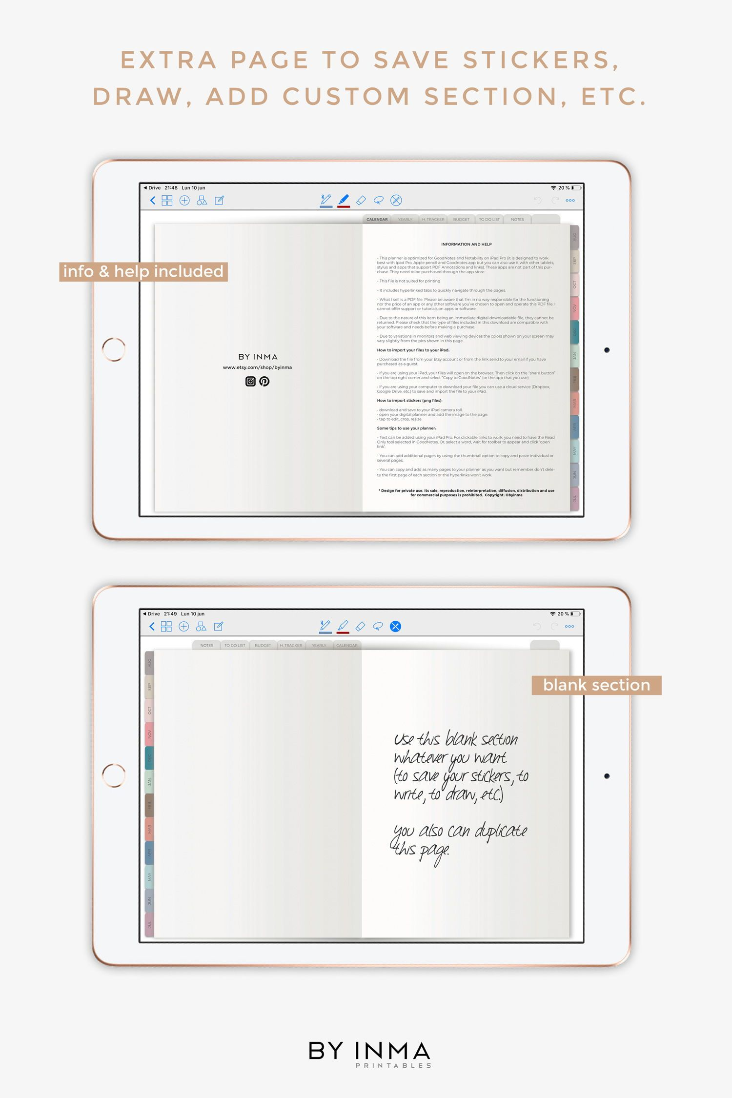 Digital Planner Goodnotes Ipad 2019 2020 Mid Year Planner With Hyperlinks Tabs Digital Stickers 2 Covers Included A Digital Planner Digital Sticker Planner