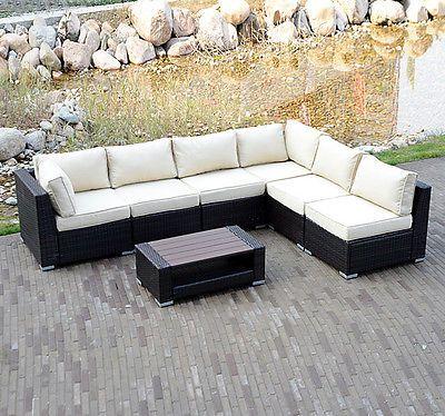 7pcs Outdoor Patio Rattan Pe Wicker Sectional Furniture Sofa Set