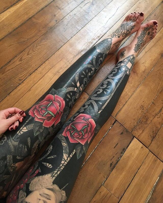Woman girl legs fully covered blackout tattoo beautiful flowers ...
