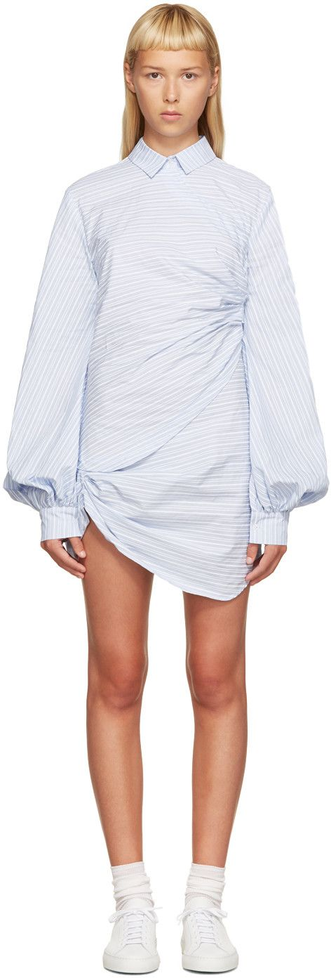 420€ Jacquemus - Robe chemise rayée bleue et blanche