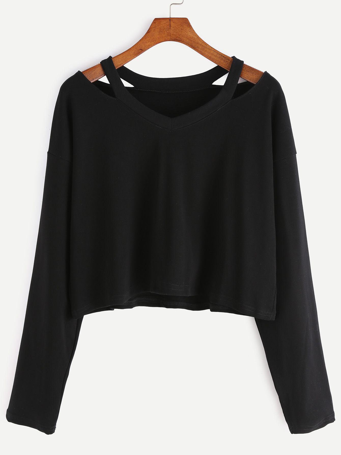 Cut Outs T shirt schwarz Nähen Kleidung Pinterest