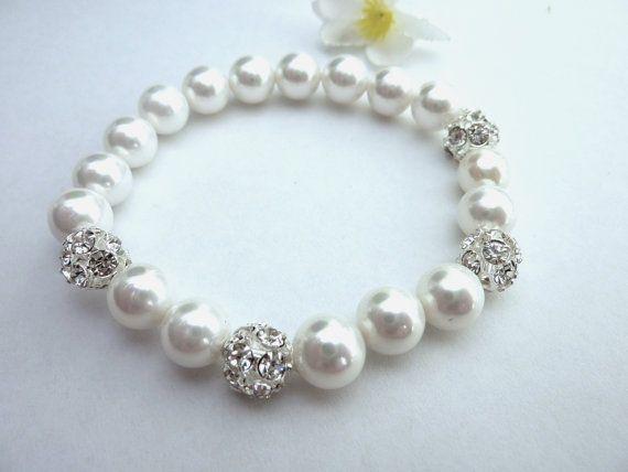 Wedding Bracelet Bridal Bracelet White Swarovski Round Pearl Etsy Bridal Bracelet Wedding Bracelet Bridal Necklace