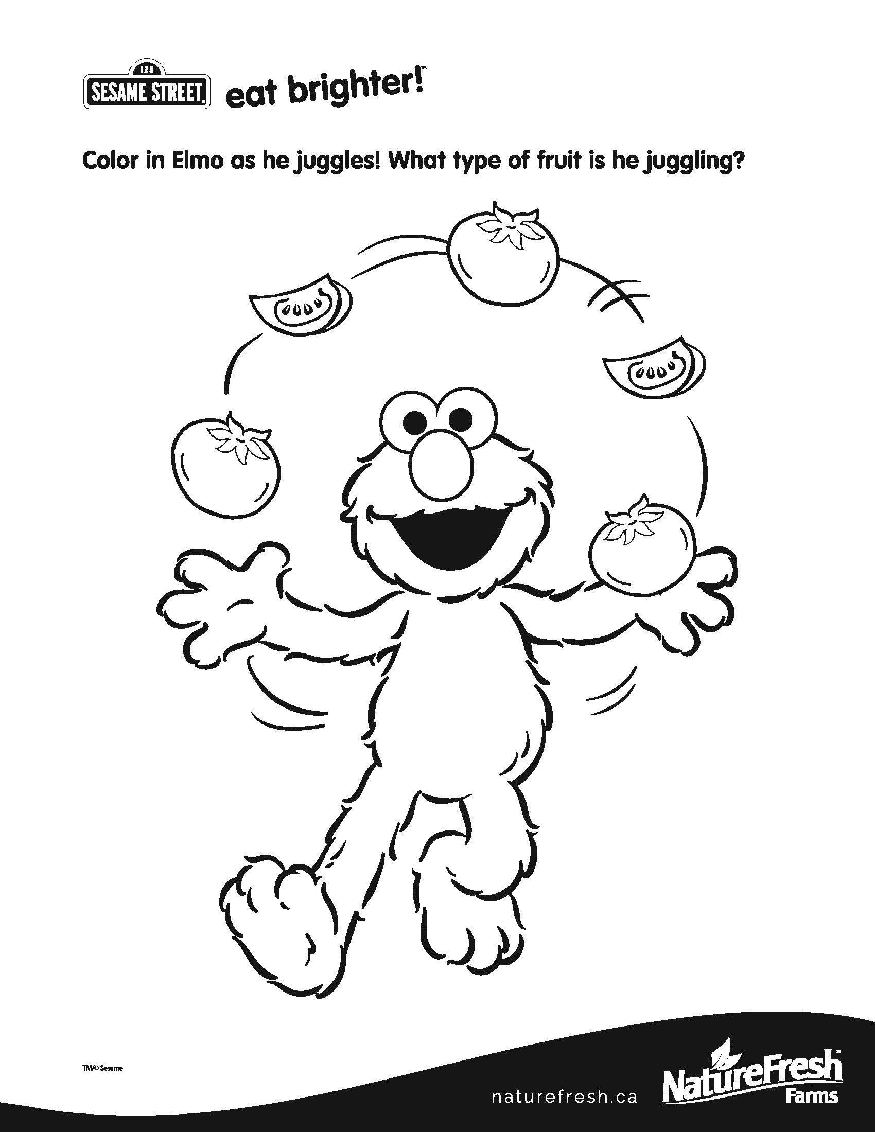 Color In Elmo As He Juggles What Type Of Fruit Is He Juggling
