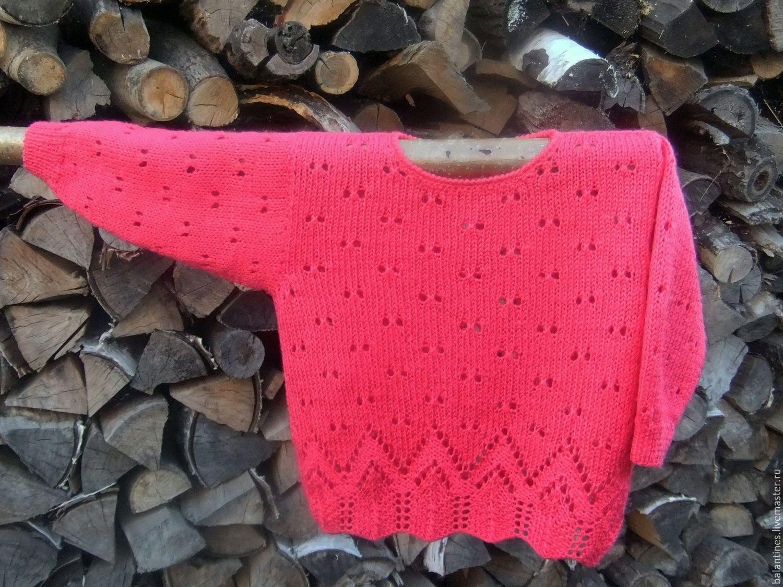 Купить Вязаный свитер Джемпер вязаный Аленький цветок Вязаный полувер вязаный - коралловый