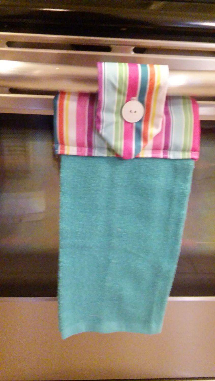 Hanging Hand towel, blue Towel, stripe Topper, Oven Door Towel, Sewn ...