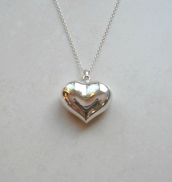 Silver heart necklace extra large sterling silver heart pendant silver heart necklace extra large sterling silver heart pendant puffy extra long chain aloadofball Choice Image