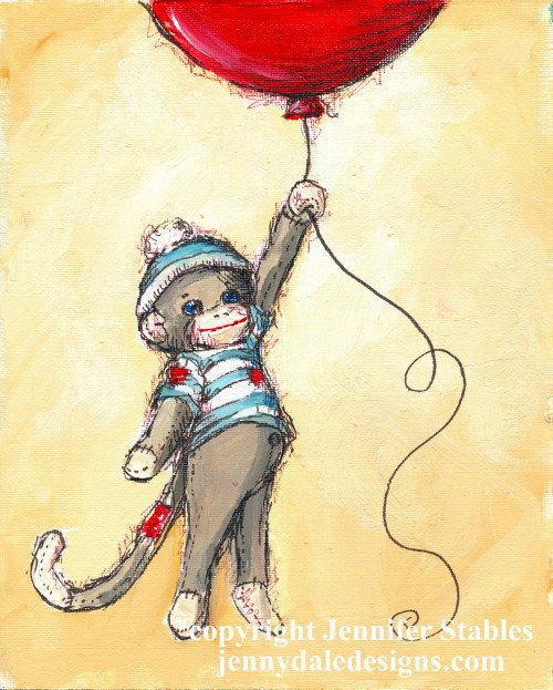 Nursery Art- Cute Sock Monkey and Red Balloon- art print | Red ...