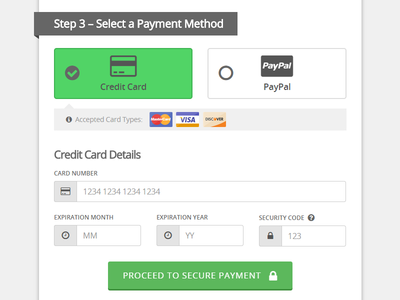 One Page Checkout Payment Methods Credit Card Payment Method Visual Hierarchy