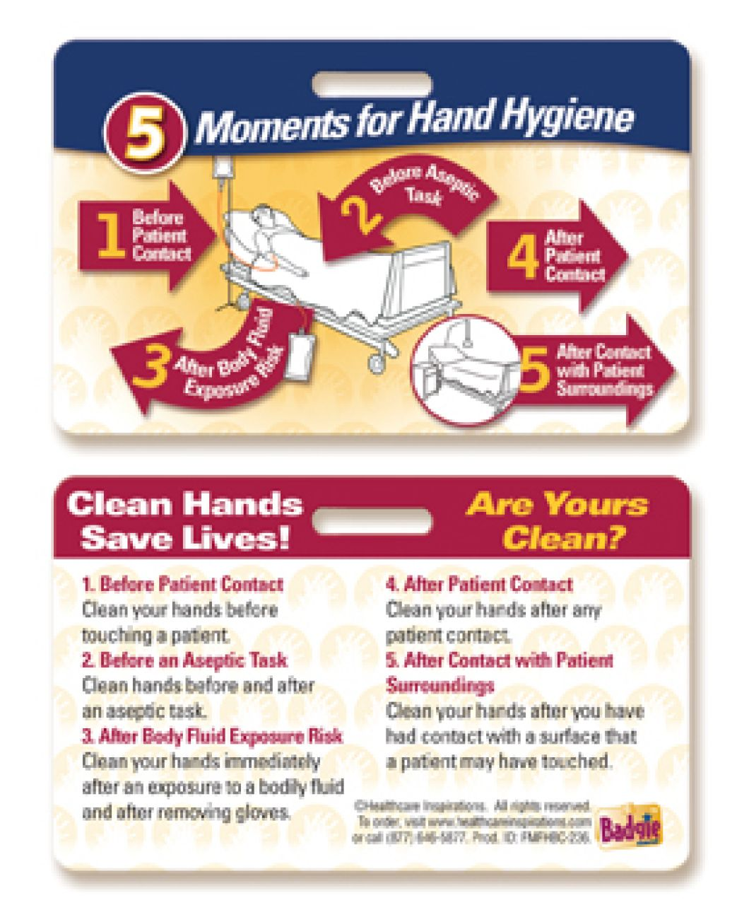 5 Moments For Hand Hygiene Inpatient Badgie Card Hand Hygiene
