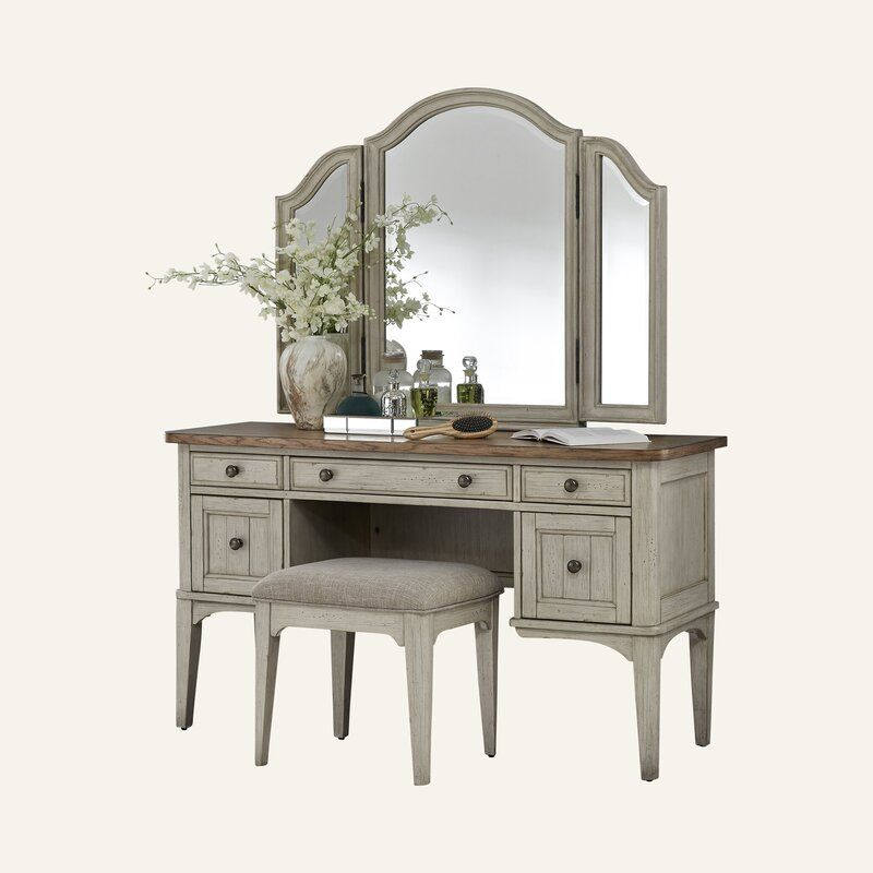 Avianna Vanity Set With Stool And Mirror In 2021 Vanity Set Vanity Set With Mirror Built In Vanity