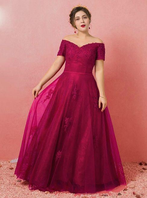 Plus Size Burgundy Tulle Appliques Off The Shoulder Prom Dress ...