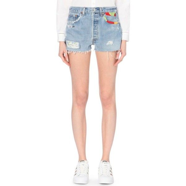 RE/DONE Appliqué-detail high-rise denim shorts (1,105 MYR) ❤ liked on Polyvore featuring shorts, hawaiipatch, high rise denim shorts, destroyed denim shorts, distressed high waisted shorts, destroyed jean shorts and cotton shorts