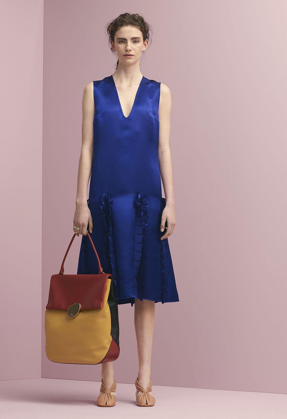 c2eecf19b9 Mulberry Summer  18 LFW show. Donna Dress in Indigo Glossy Viscose ...