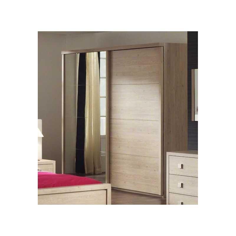 Armoire 187 cm à 2 portes coulissantes coloris chêne andorra