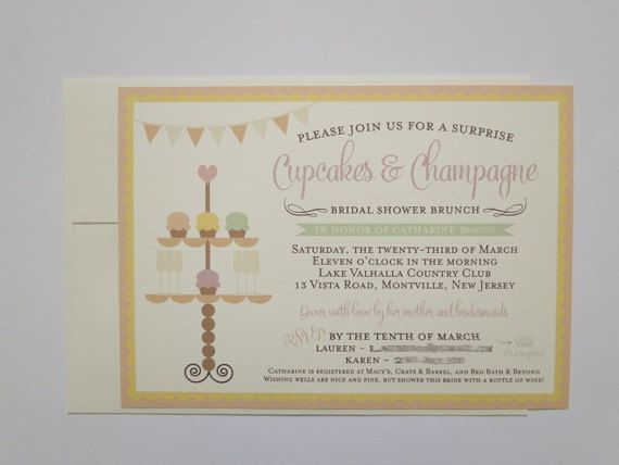 Cupcakes and Champagne Bridal Baby Shower or Party Invitations – Order Party Invitations
