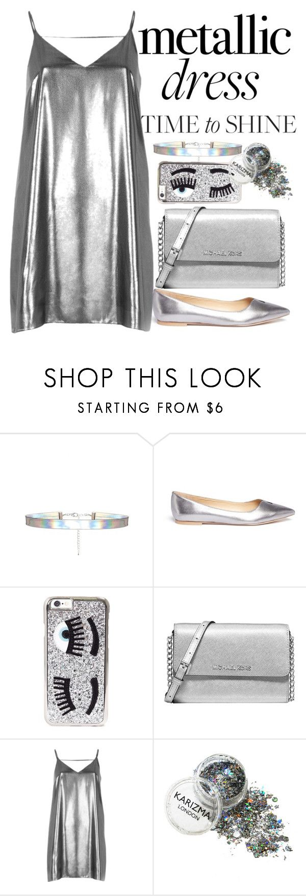 """Metallic dress"" by anna-nedelcheva ❤ liked on Polyvore featuring Sam Edelman, Chiara Ferragni, Michael Kors and River Island"