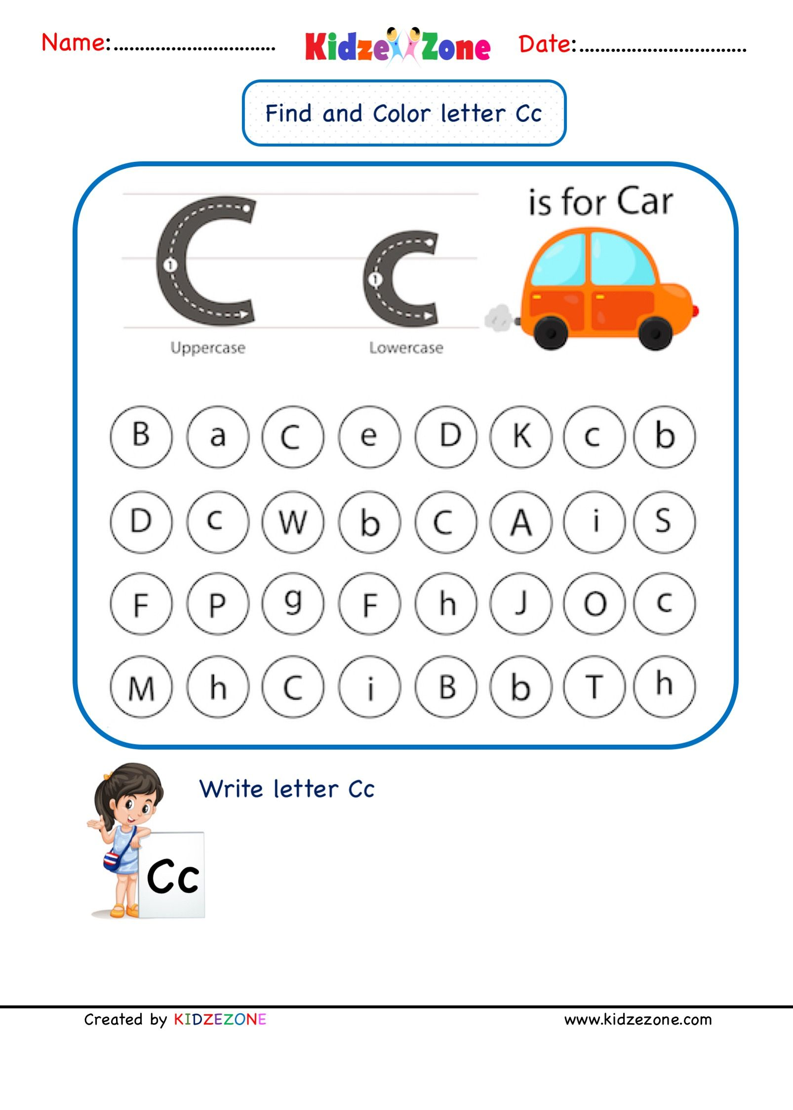 Letter C Find And Color Worksheet