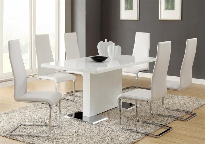 63 Inga Modern White Dining Table W White Chairs Modern Dining
