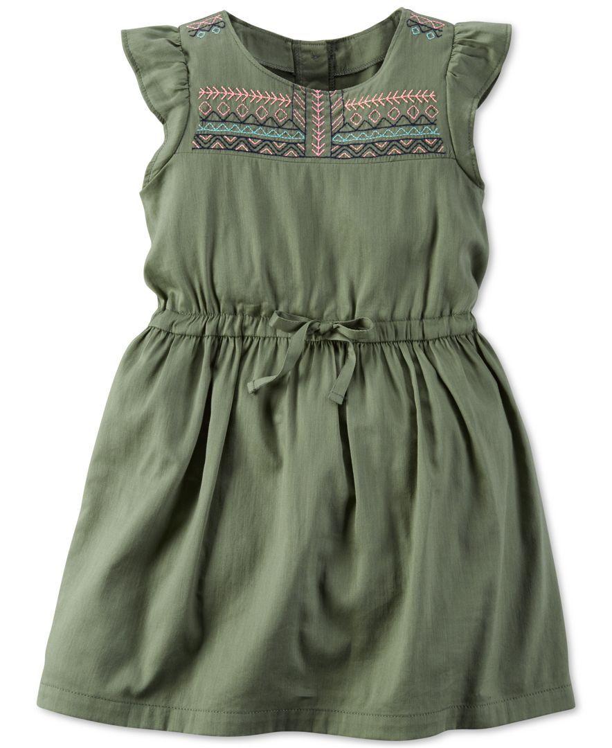 3ec3a4590b Carter s Little Girls  Embroidered Flutter-Sleeve Dress