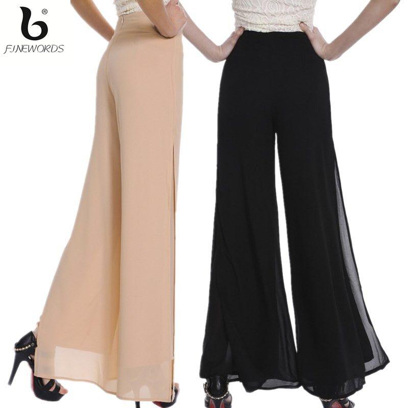 6cdca42cf2d3 FINEWORDS Automne Double Mousseline de soie Jambe Large Pantalon Femmes  Vintage Lâche Plus La Taille Souple De Danse Pantalon Cloche Fond Casual  Pantalon ...