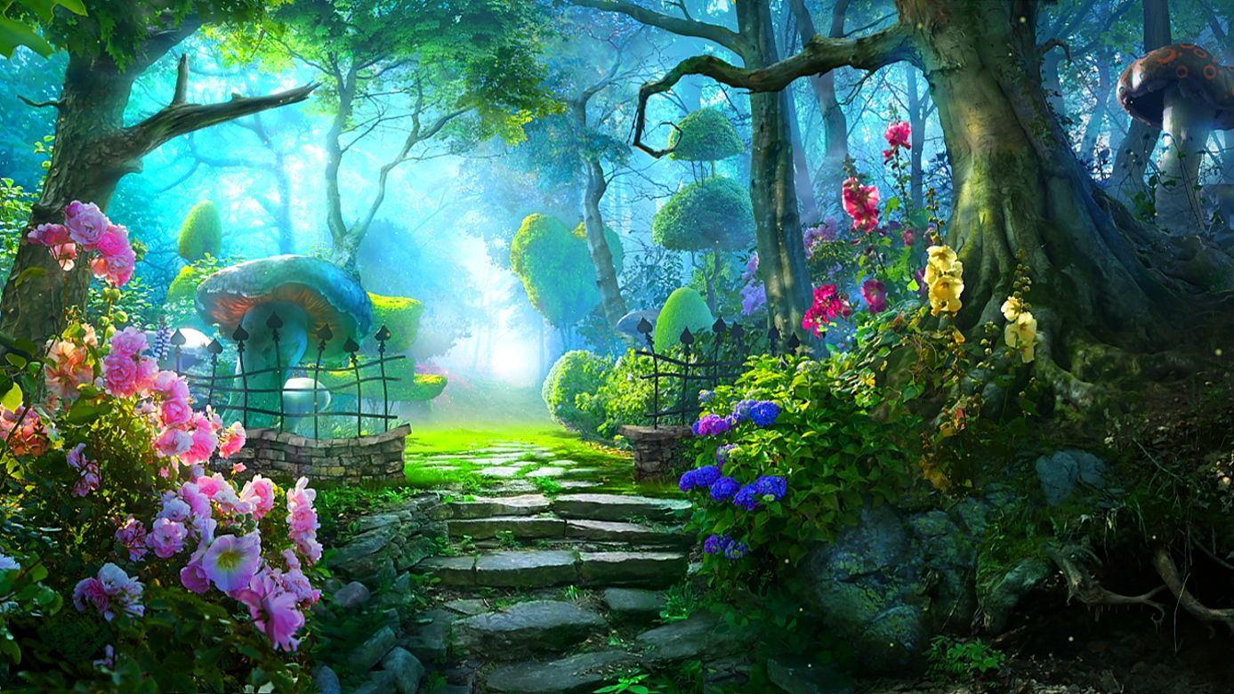 Looking For Paintings Of Flower Gardens My Garden Color Beautiful Magic Flowers Hd Wallpaper Fantasy Landscape Anime Scenery Magical Garden
