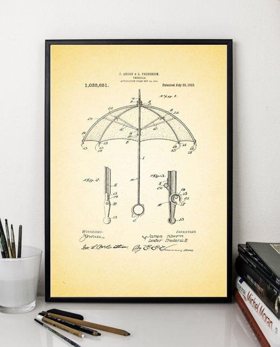 Umbrella patent prints patent art print vintage antique print wall ...