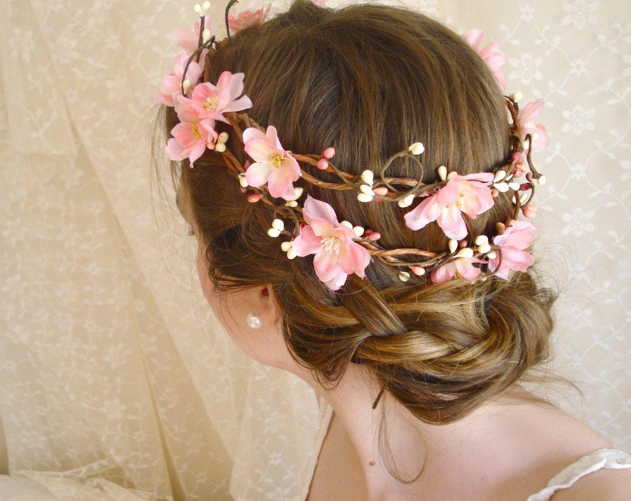 Floral Wedding Garland Head Cherry Blossom Flower Head Wreath Sakura Dreams A Pink Bridal Flower Wreath Hair Flower Head Wreaths Pink Bridal Crown