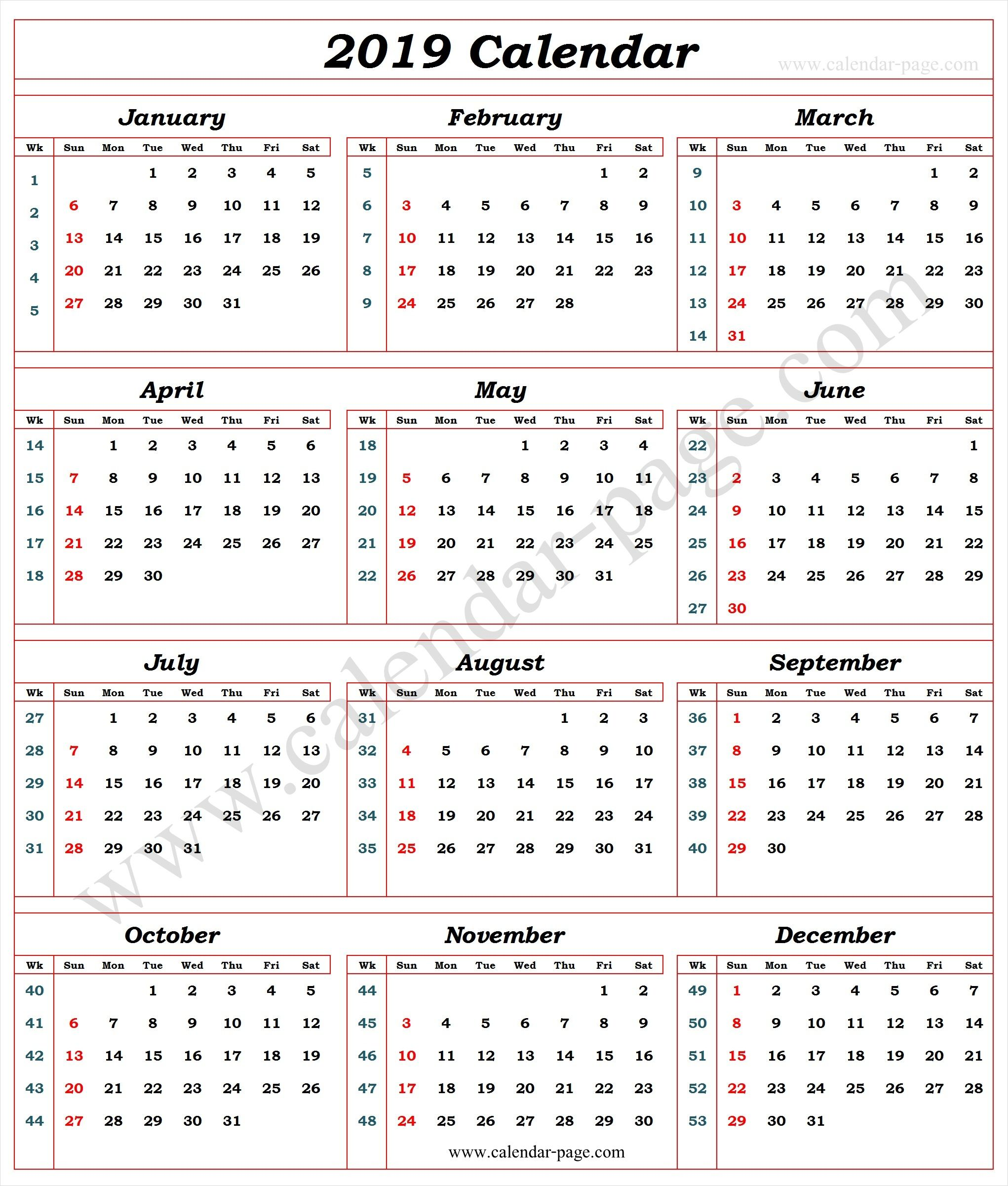 calendar 2019 with week numbers