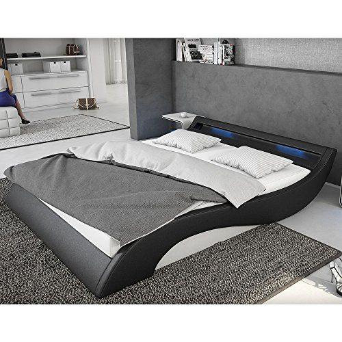Bett weiß leder 180x200  Polster-Bett 180x200 cm schwarz-weiß aus Kunstleder mit blauer LED ...