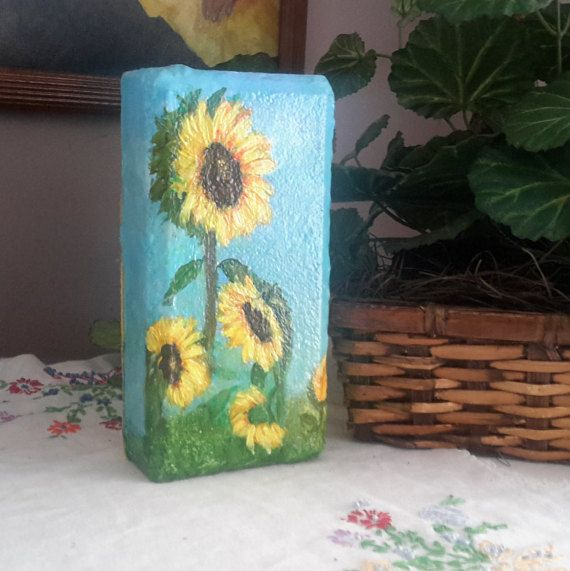 Sunflower Painting, Painting On Brick, Gift For Mom